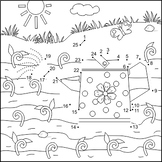 Connect the Dots and Coloring Page with Watering Can, Comm
