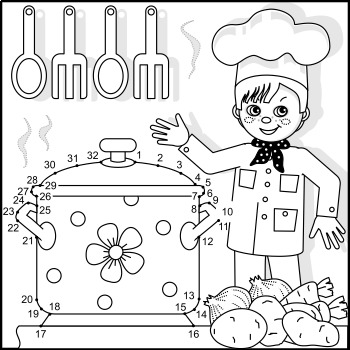 Connect the Dots and Coloring Page with Young Chef, Commercial Use Allowed