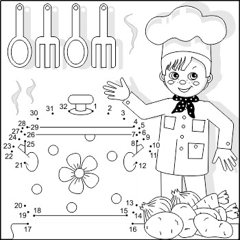 Connect The Dots And Coloring Page With Young Chef Commercial Use Allowed