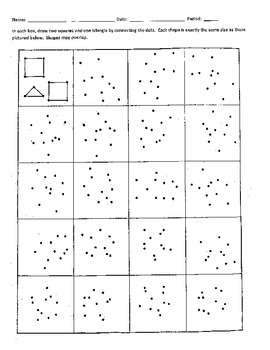 Connect the Dots to Form Two Squares and One Triangle in Each Box