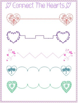 Connect the Hearts Tracing Activity