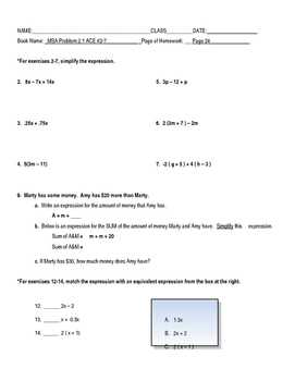 Connected Math: Moving Straight Ahead Common Core Adapted Homework