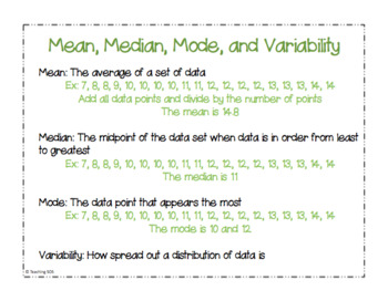 Connected Mathematics: Data About Us Anchor Charts
