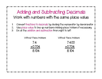 Connected Mathematics: Decimal Ops Anchor Charts