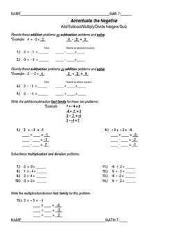 Connected Mathematics Grade 7 Adapted Quizzes