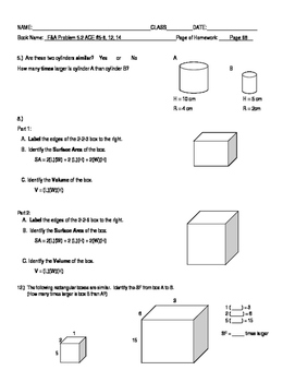 Connected Mathematics Grade 7 Filling and Wrapping Adapted Homework