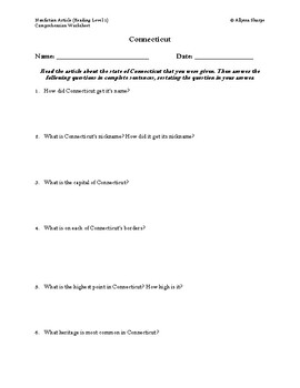Connecticut Article (Reading Level 1) Comprehension Worksheet