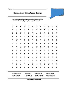 Connecticut Cities Word Search (Grades 3-5)