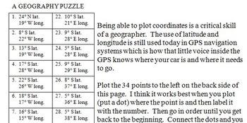 Connecticut State Latitude and Longitude Coordinates Puzzle - 34 Points to Plot