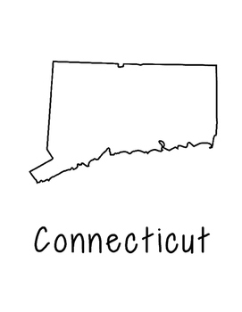 Connecticut Map Coloring Page Craft - Lots of Room for Note-Taking