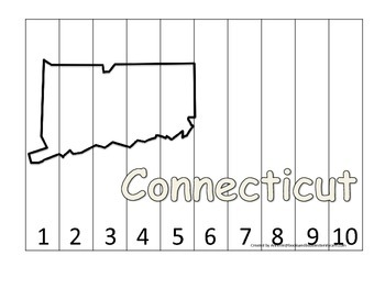 Connecticut Number Sequence Puzzle.  Learn the States preschool printable game.
