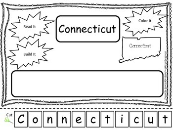 Connecticut Read it, Build it, Color it Learn the States preschool worksheet.