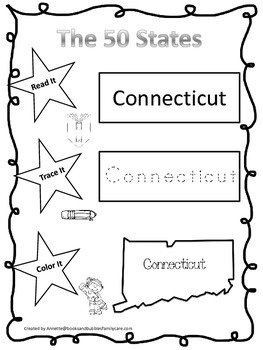 Connecticut Read it, Trace it, Color it Learn the States preschool worksheet.