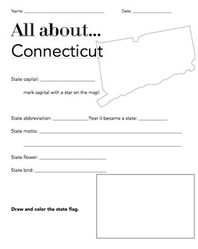 Connecticut State Fact Worksheet: Elementary Version