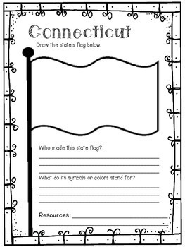 Connecticut State Research Report Project Template with timeline Craftivity CT