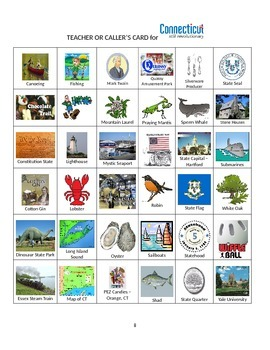 Connecticut:  State Symbols and Sites Bingo