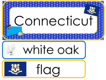 Connecticut State Word Wall Bulletin Board Set. Geography Curriculum.