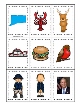 Connecticut themed Memory Matching and Word Matching preschool curriculum game.