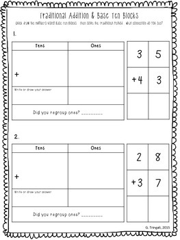 connecting 2 digit traditional addition with base ten blocks worksheets. Black Bedroom Furniture Sets. Home Design Ideas