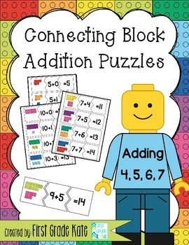 Addition Math Fact Puzzles for Adding 4,5,6,7