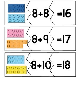 Addition Math Fact Puzzles for Adding 8,9,10