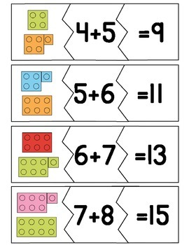 Addition Math Fact Puzzles for Doubles & Near Doubles
