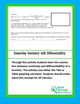 Calculus:  Connecting Continuity with Differentiability