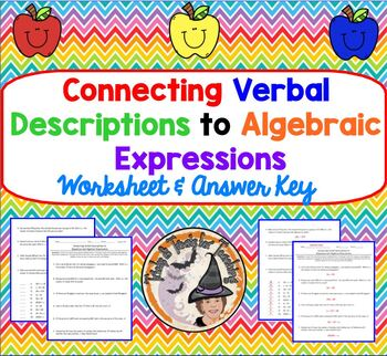 Connecting Verbal Descriptions to Algebraic Expressions Algebra Practice