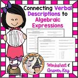 Connecting Verbal Descriptions to Algebraic Expressions Algebra Practice