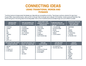 Connecting Words (transitions) to use with evidence-based lesson