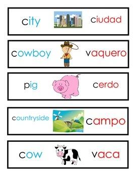 Rural Urban City Farm Vocabulary Cards Dual Language 2