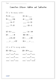 Connections Between Addition and Subtraction - Short Worksheet