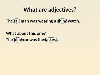 Connectives and Adjectives powerpoint