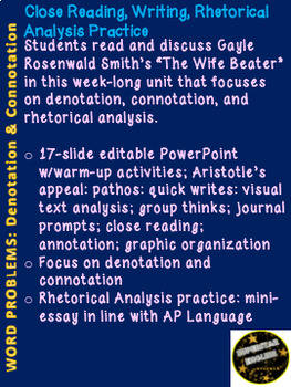 Denotation Connotation Mini-Unit AP Language Rhetorical Analysis