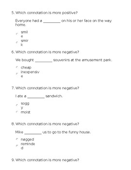 Connotation & Denotation Practice