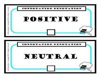Connotation Denotation Task Cards