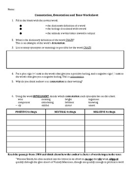 Connotation Denotation And Tone Worksheet By Make English Class Fun