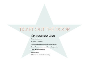 Connotation Exit Cards *CCSS Aligned RL.6-9.4 *Bundle includes 5 different cards