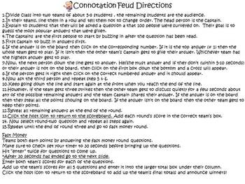 Connotation Feud: Powerpoint Game for Secondary