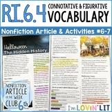 Connotation & Figurative Language RI.6.4 | Halloween History Article #6-7