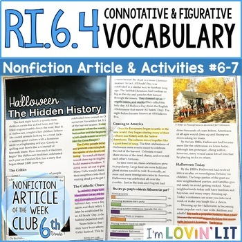 Connotation & Figurative Language RI.6.4 | Halloween History Article #6-7