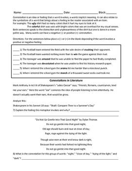 Connotations Study Guide & Sort Activities