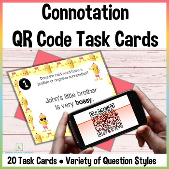 Connotation Task Cards with QR Codes