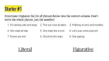 Connotation Vs. Denotation (Series of 5 Starters)