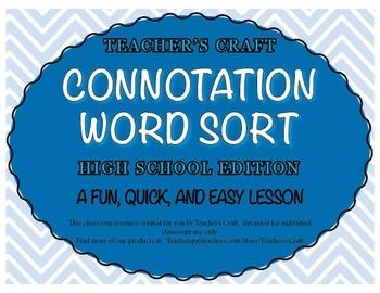 Connotation Word Sort - High School