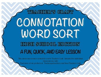 Connotation Word Sort - High School