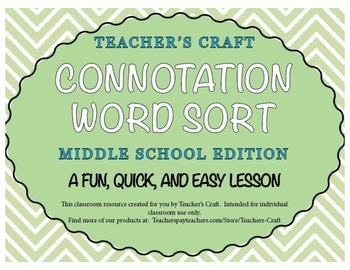 Connotation Word Sort - Middle School