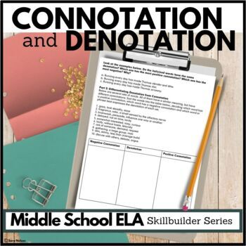 Connotation And Denotation Lesson Plan And Practice Questions By