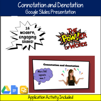 Connotation and Denotation Google Slides Presentation and Application Activities