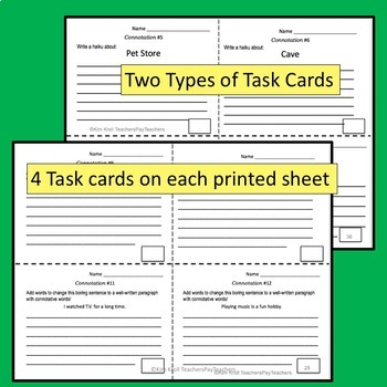 Connotation and Denotation Task Cards, Match Up, and MORE
